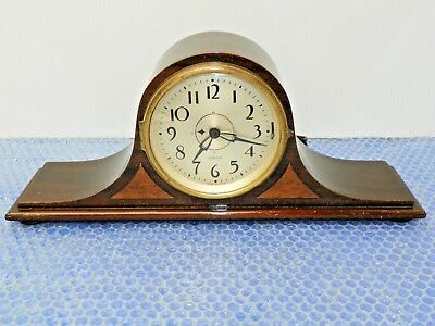 Vintage Sangamo Mantle Clock Movement Number 1450 Wood Cabinet Glass Dome