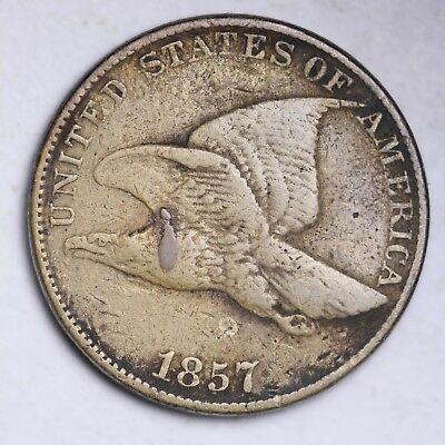 1857 Flying Eagle Small Cent CHOICE VG FREE SHIPPING E109 GCN