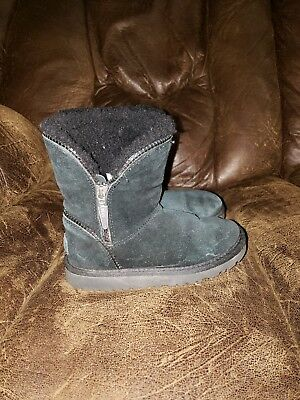 UGG Australia Black Suede Shearling Zip Ankle Boot Kids Size 12   106992T