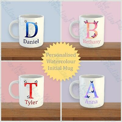 PERSONALISED Mug Initial with Name Drink Football Butterfly Colourful Fun