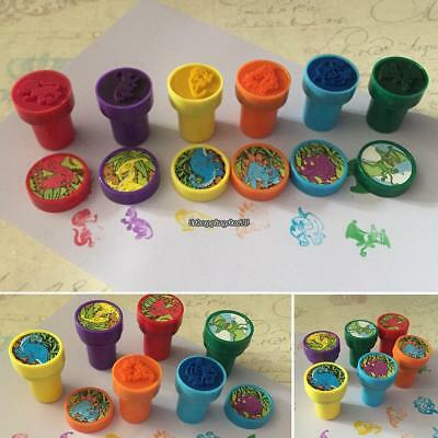 6Pcs Cute Colorful Dinosaur Stampers Fun Kids Crafts Toy Gifts EH7E