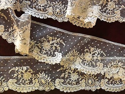 Victorian handmade Brussels bobbin lace applique edging COLLECTOR DOLL Costume