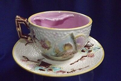 "VeryRare Fielding English Majolica Mustache Cup & Saucer""Bird and Fan"" Pattern"