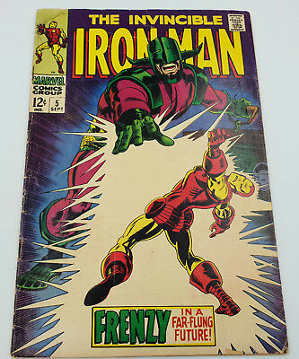 Iron Man #5 Silver Age Marvel Comics 1st Appearance of Cerebrus VG-