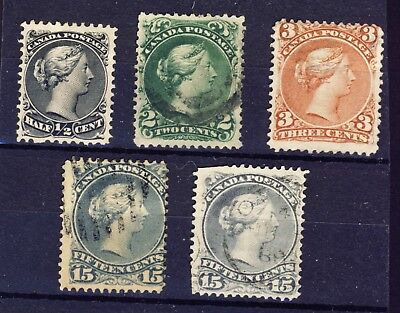 5x Canada Large Queens No. 21- 24-25-29-30 Used, May be a few faults CV= $200.00