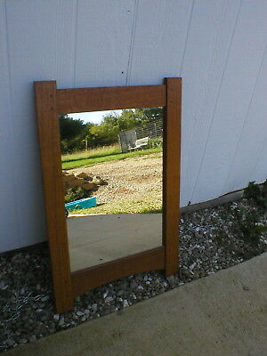 "Vintage Arts and Craft Mirror Oak 32 Tall x 21 1/4"" Wide"