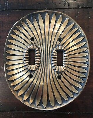 Vintage ART DECO Double 2 Light Switch Plate Cover by EDMAR Oval METAL / BRASS