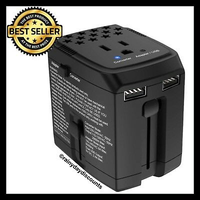2000W Travel Adapter 220V To 110V Converter With 2 USB Ports | Step Down Voltage