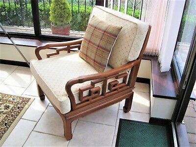 Chinese teak armchair, this item has been reupholstered from the original fabric