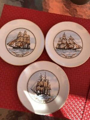 """3-Vintage 6 1/2"""" Plates Flying Cloud,Stag Hound,Red Jacket"""