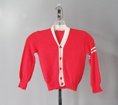 Vintage 1960s Red and White Cardigan for Baby or Toddler Child's Varsity Sweater