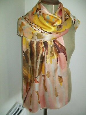 National Gallery Victoria. Large Stunning Painterly Abstract Vintage Silk Scarf
