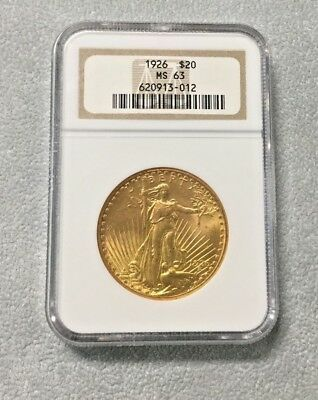 1926 ngc ms63  St. Gaudens $20 Dollar Gold Coin in slab BAG 1
