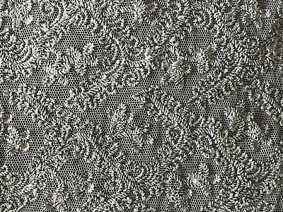 """REMARKABLE preliminary work HANDMADE LACE embroidery on grey tulle 58"""" X 17 1/2"""""""