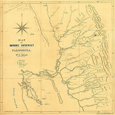 1850 Map California Gold Mining District Mines Fields Wall Poster Vintage Print