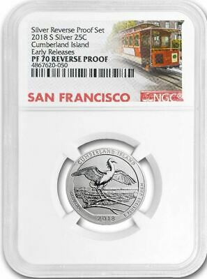 2018 S CUMBERLAND ISLAND 25c SILVER REVERSE PROOF NGC PF70 EARLY RELEASES