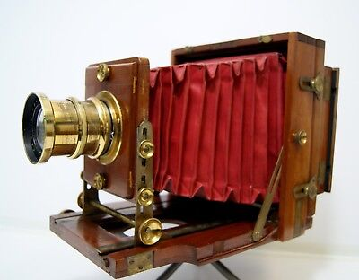The 1894 Instantograph Large format wood brass vintage Plate Camera Primus Lens