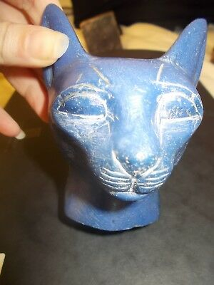 An Egyptian Style Cat The Colour of Lapiz Lazuli Possibly made of a Porous Rock