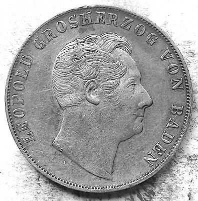 German States / Baden 1850 2 Gulden - Silver (21.0 g, 36 mm) KM#222