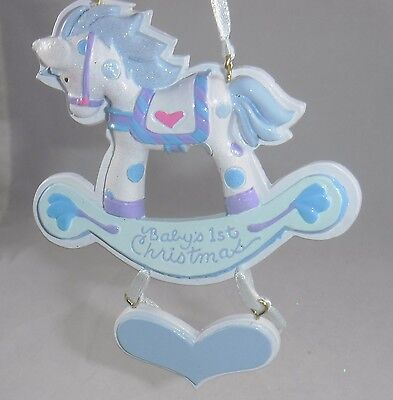 Baby's 1st Christmas Blue Rocking Horse Christmas Tree Ornament new holiday