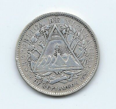 Nicaragua 1887 Silver 20 Cents- No Reserve