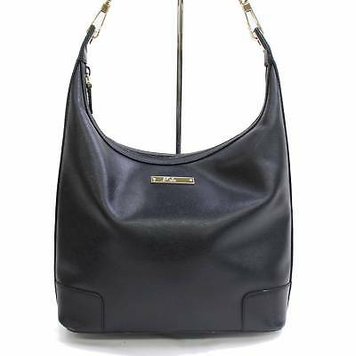 Authentic Gucci Womens Black Genuine Leather Looping Shoulder Bag Purse 31294-B
