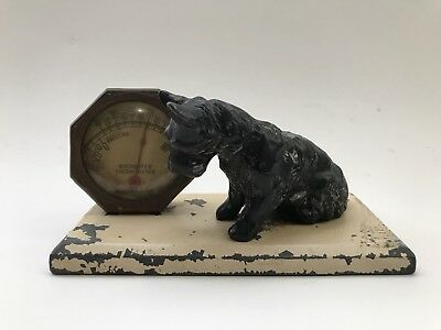 Vintage Cast Metal Scotty Dog Ice Box Thermomenter Refrigerator Rochester Works!