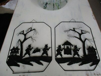 two unusual chinese oriental metal silhouette picture plaques..
