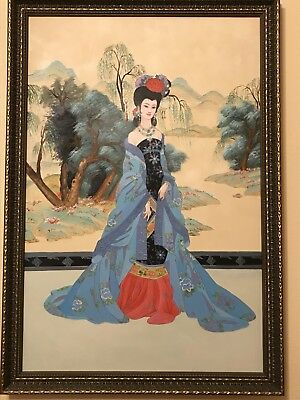 Large Chinese/Japanese Stunning Portrait Original Oil Painting on Canvas W/Frame