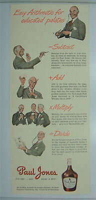 ORIGINAL 1947 Paul Jones Whiskey ad Easy Arithmetic for Educated Palates