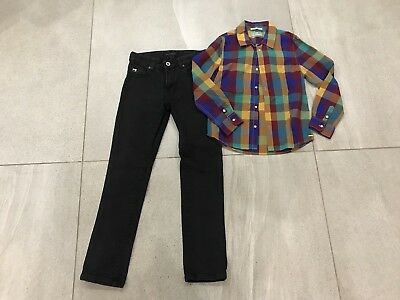 Boys Scotch Shrunk Jeans And Shirt Age 8 Excellent Condition