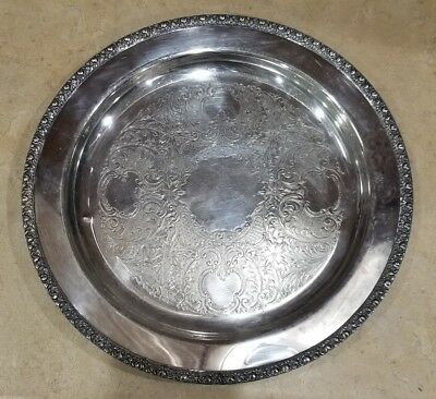 Antique Gotham Silver On Copper 12.5 Inch Etched Serving Tray Platter