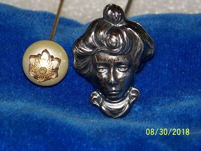 Vintage Antique Lot Of 2 Faux Pearl & Sterling Silver Hat Pin