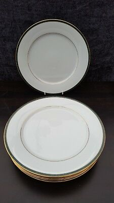 """Boots Fine China  4/766 Hanover Green 10.5"""" WIDE  DINNER PLATES  x 6"""