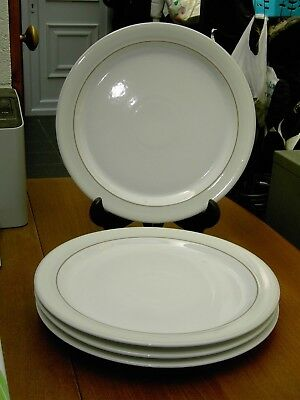 """4 X Denby Natural Canvas Dinner Plates 10 11/16"""" Dia In V.G.C. FREE UK P&P"""