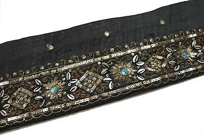Vintage Sari Border Antique Indian Hand Beaded Trim Sequin Embroidered Lace