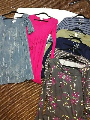 Lot of 7 Maternity Fall Knit Dresses Long Sleeve Tops S GAP Motherhood Liz Lange