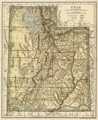 UTAH Map: Authentic 1907 (dated) with Counties, Towns, Topography, Railroads