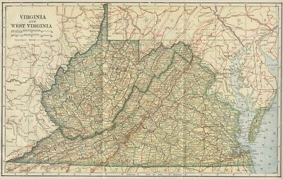 VIRGINIA & WEST VIRGINIA Map: 100 Years Old with Counties, Towns, Topog. RRs