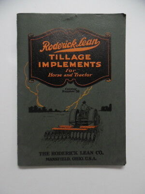1928 Roderick Lean Co. Tractor Tillage Implement Catalog Mansfield OH Vintage VG