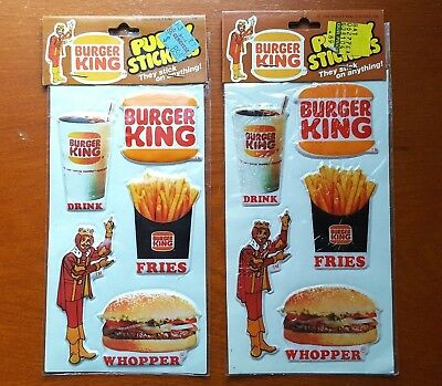 2 sets of Vintage 1982 Burger King Puffy Stickers Advertising Gordy