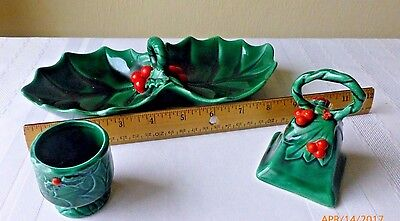Vintage Lefton China Exclusives Holly Berry Candle Holder Bell Candy Dish Set