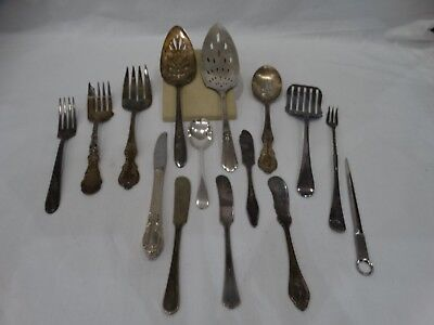Vintage Lot Of 15 Mixed Serving Silver Plate Pieces