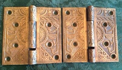 Pair Antique Victorian Aesthetic Movement Eastlake Heavy Bronze Brass Door Hinge