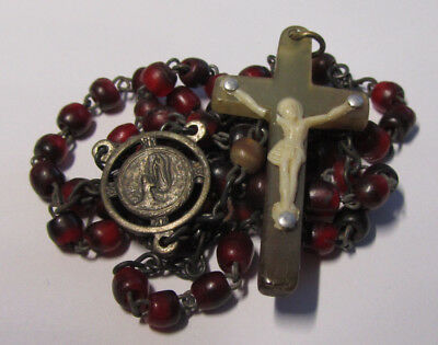 † Dated 1958 Lourdes 100Th Vintage Dyed Red & Natural Irish Cattle Horn Rosary †