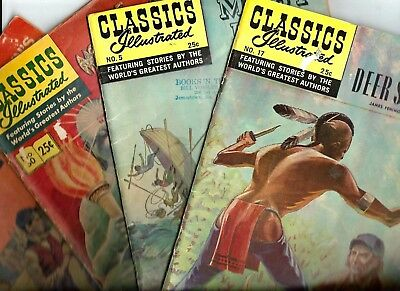 Lot of 4 Classics Illustrated Gilbertson Company 1946 (3)  1948 (1)