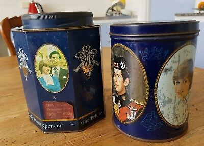 2 1981 CHARLES & DIANNA wedding tea tin & souvenir tin