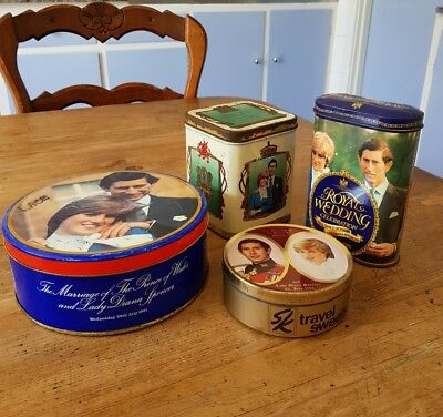4 different Charles & Dianna wedding 1981 tins