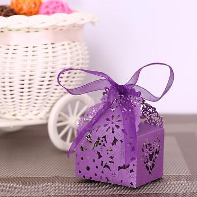 20PCS Delicate Carved Flower Elegant Candy Boxes with Ribbon for Party I8W7