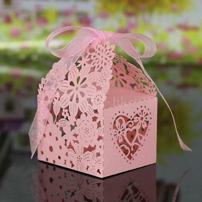 10PCS Delicate Carved Flower Elegant Candy Boxes with Ribbon for Party D1H7